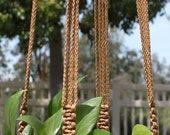 CROWNE ROYALE - Light Brown Handmade Macrame Plant Hanger Holder with Wood Beads - 4mm Braided Poly Cord in CINNAMON