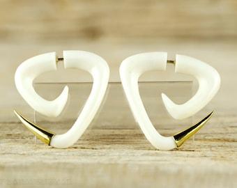 Fake Gauge Earrings Spiral Earrings Triangle Tribal Style Gauges Bone Organic - FG076 BM G1
