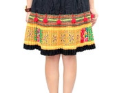 Fashionable Hmong Skirt With Pom Pom Hand Woven Fabric Thailand (HT6833.7)