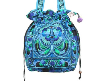 Blue Bird Shoulder Bag Bohemian Style Hill Tribe Fabric Thailand (BG134F-BB)