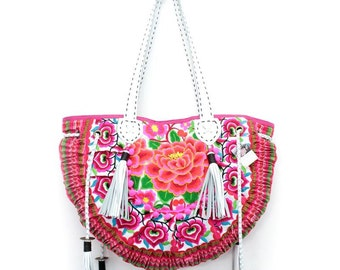 Shoulder Bag Embroidered Fabric Leather Strap Hill Tribe Thailand (BG064-WWR)