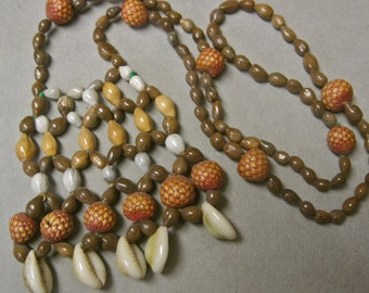 Boho Necklace Shells Painted Weird Beads Macrame Brown Tan Neutrals Vintage 70s Hippie Tribal Primitive Islander Costume Statement
