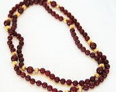 """Vintage CARNELIAN NECKLACE w/ 90 - 5mm, 9 – 7mm Carnelian, n 18 – 4mm 14K GOLD Beads, 31"""" Long, Exc. Condition, Ca 1970-80s, Free Shipping"""