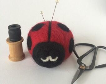 Ladybug Pincushion, felted wool ladybug pin cushion