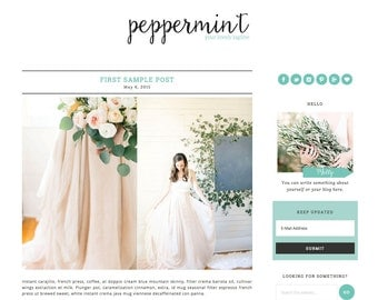 "Wordpress Theme Responsive Blog Design ""Peppermint"" - Minimalist and cute"