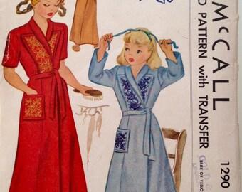 Vintage 1946 McCall's Girls' Housecoat Pattern 1920 Size 10 UNCUT