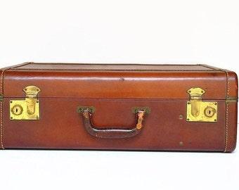 vintage leather suitcase 1940s luggage