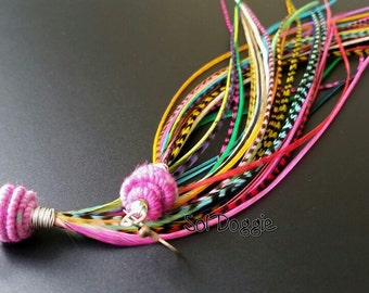 Long Feather Earrings Colorful Feathers Handmade Feather Jewelry Fiber Beads Bright Accessories