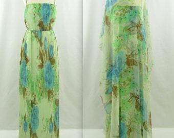 Jean Pierce Evening Gown + Caftan - Vintage 1970s Pleated Maxi Dress w/ Cape in Small