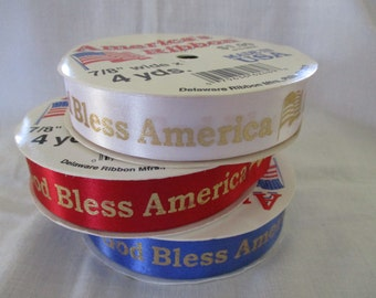 America's Ribbon God Bless America USA American Flag, Red, White, Blue Satin Polyester Craft, 3 Ribbon Spools, 4 Yards on each