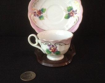 Vintage Porcelain Demitasse Cup and Saucer marked Hand Painted Japan