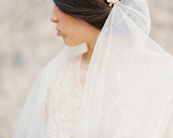 Cathedral Length Drop Veil with Pearl & Rhinestone Combs, English Net Bridal Veil, Wedding Veil -Style 2115 MADE TO ORDER