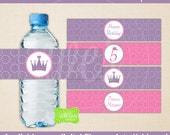 Princess Water Bottle Labels - Printable Water Bottle Wraps -  Princess Bottle Labels - Digital and Printed Available