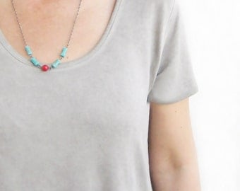 Turquoise And Coral Necklace, Gun Meatal Chain, Beaded Necklace, Natural Stone, Red Coral