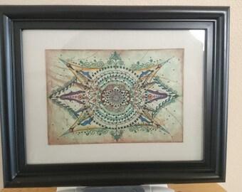 """Mandala - Original Artwork - Pen and Ink - Watercolor - 5"""" x 7"""" Framed"""