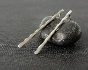 Silver stick earrings. Sleek simple studs. Minimalist jewelry.