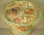 Broken vintage dishes mosaic bird feeder/birdbath, franciscan desert rose, assorted floral patterns