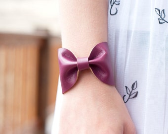 Bow Tie Bracelet, Cuff Purple, Bridesmaid Accessory, Faux Vegan Leather Jewelry, Tattoo Cover Up, Doctor Who Tie Scarf Cuff Wide Womens