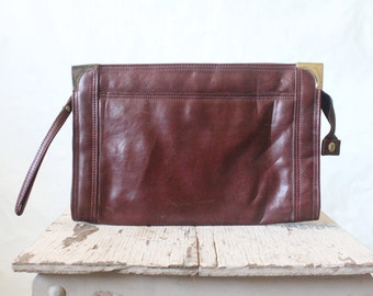 70's Oxblood Clutch Handbag