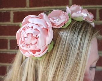 Woodland romantic blush peony crown headband. Metal wrapped headband. fits women and children. fascinator