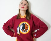 Vintage Red and Yellow Indian Chief Native American Graphic Pullover Sweatshirt