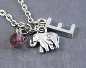 SALE Silver Elephant Necklace - Elephant Pendant - Zoo Jewelry - Animal Necklace - Elephant Jewelry - Nature Necklace - Nature Jewelry - Zoo