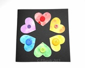 Watercolour Hearts & Buttons Black Greeting Card #12