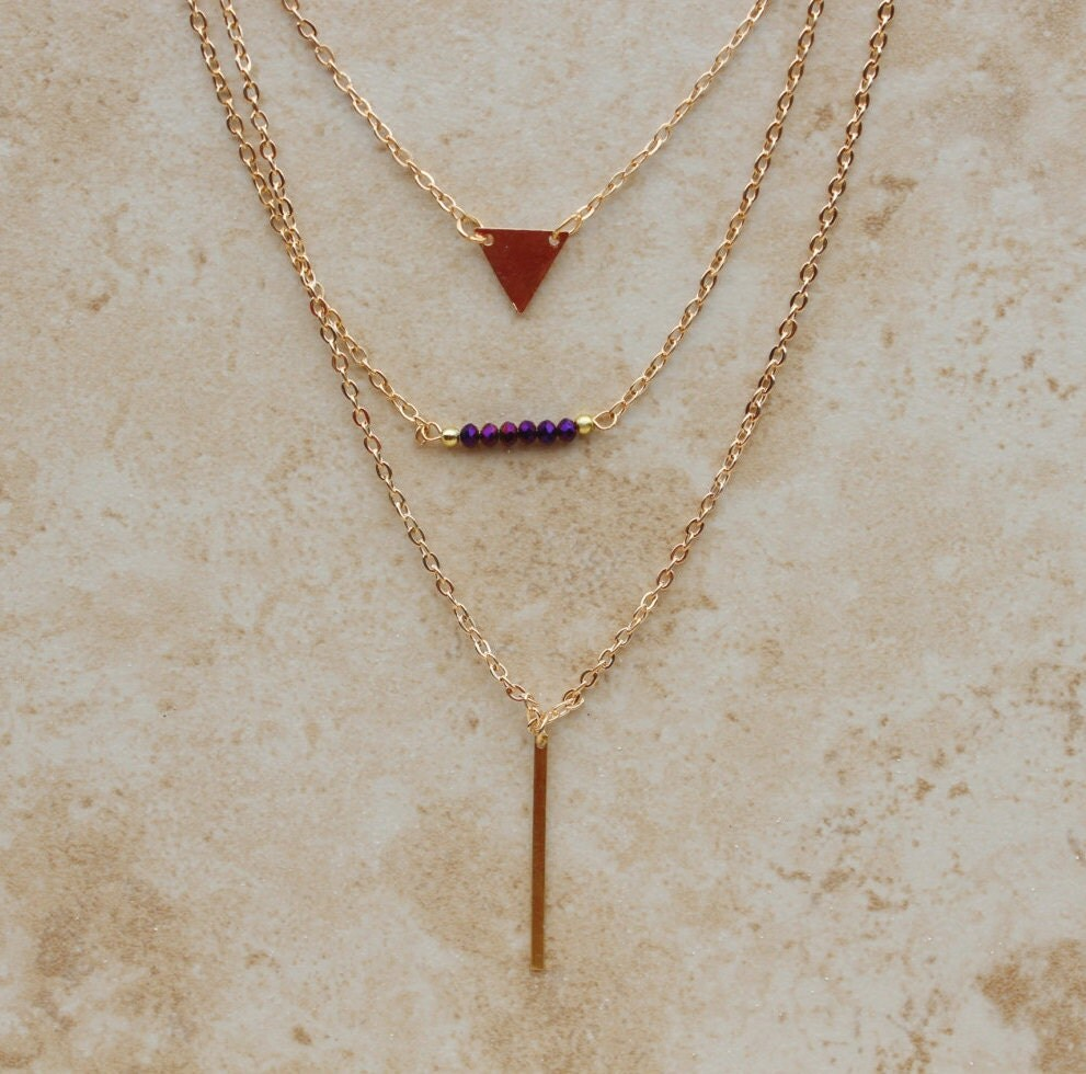 delicate layered necklace set gold fill layering necklaces