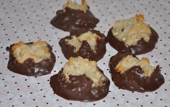Coconut  Macaroon  Cookies   Chocolate Dipped  Chewy  Sweet all natural , 12