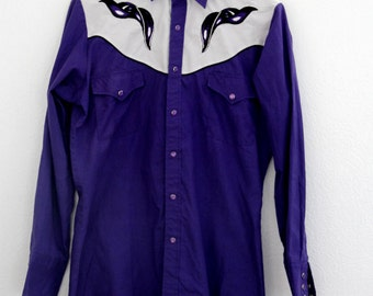 Vintage Mens Pearl Snap Embroidered Ely Diamond Purple Small 1990s