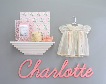 "36"" Wide Large Baby Name Nursery Sign -Personalized Wood Cutout -Custom Nursery Wall Decor -Vintage Style Baby Name Plaque -Cursive Font"