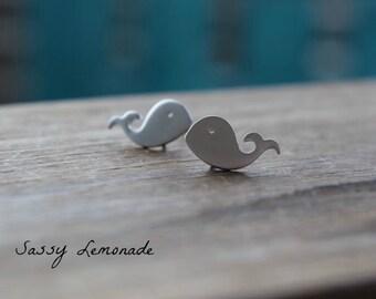 Dainty Whale Earrings / Super Cute Whale Sterling Silver Post Earrings