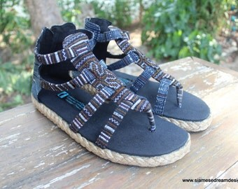 Boho Womens Sandals In Brown Hmong Embroidery Vegan Summer Gladiator Shoes - Isadora
