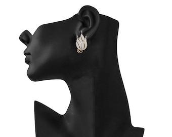 Emmons Leaf Earrings, White Enamel, 1950s Earrings, White Earrings