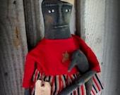 Primitive America Black Folk Art Liberty Doll / Summer Decor/ Americana Dolls