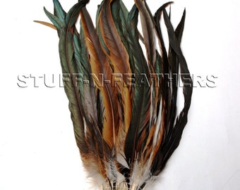 Extra Long Half Bronze rooster tail coque feathers, natural brown / black iridescent feathers millinery / 13-16 in (33-40 cm) long / F157-13