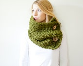 chunky crochet button scarf cowl - cilantro - wool blend - the PISGAH button