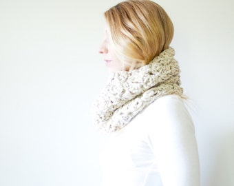 The MORGAN cowl - Chunky Cowl Neckwarmer  Scarf - oatmeal - Wool Blend