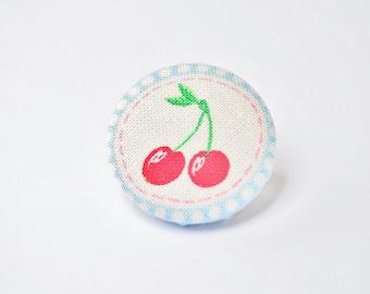 Retro Cherry Fabric Button Badge