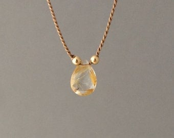 Tiny Rutilated Quartz Stone Brown Silk String Necklace available in gold, rose gold, or silver