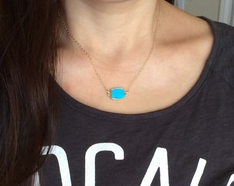 Gold Edged Turquoise Slice Stone Necklace