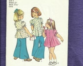 Vintage 1970's Simplicity 6052 Little Girl Flared Dress or Top with Puff Sleeves Size 3