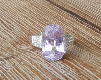 Natural 8.55 ct Kunzite & White Sapphire Ring Solid 925 Sterling Silver
