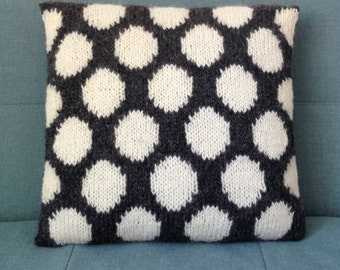 Grey And White Pillow, Wool Cushion, Spots, Knitted Pillow, UK Seller, Grey, White,