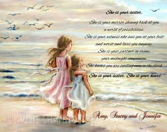 """PERSONALIZED, Names, Hair-color, quotes added, Girls, Sisters, Beach,  """"The Ocean's Lullaby""""  Laurie Shanholtzer"""