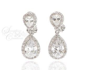 Bridal Clip On Earrings Wedding Earrings Cubic Zirconia Bridal Jewelry Wedding Jewelry Sparkly Teardrop Crystal Clear Bridesmaid Gift KL001
