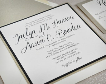 Wedding Invitations - Modern Square - DEPOSIT
