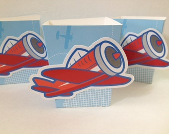 Airplane Favor Popcorn Candy Box ~ Set of 6