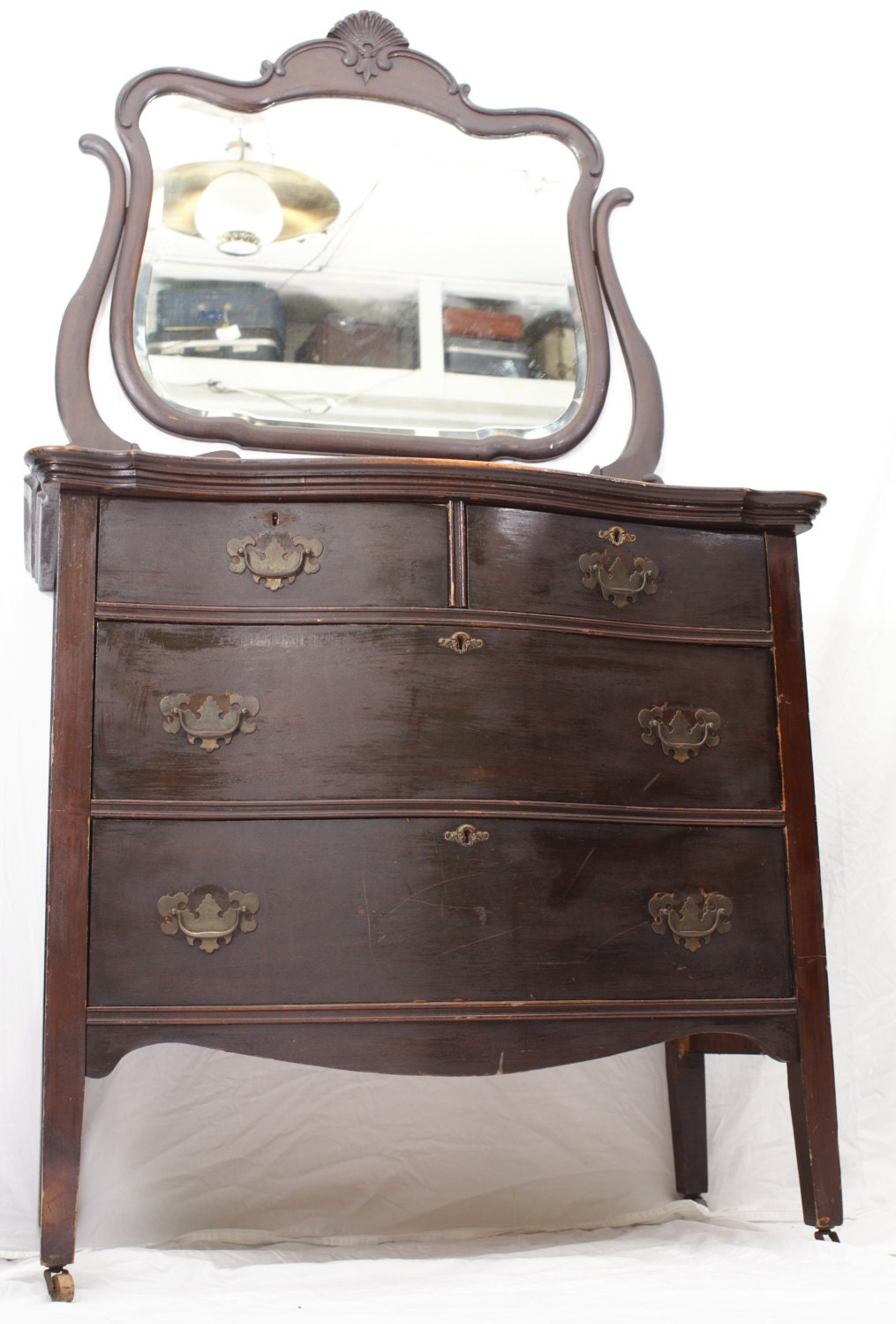 Antique Slipper Chair Antique Dark Dresser Chest with Mirror