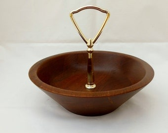 Wood Tidbit Bowl with Gold Handle Diversified Industries Solid Walnut Dish Mid Century